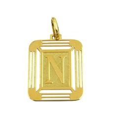 Medalha com a Letra N em Ouro 18K - J14500444 - RDJ JÓIAS