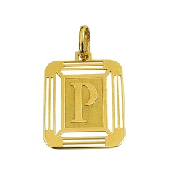 Pingente Medalha Letra P em Ouro 18K - J14500444 - RDJ JÓIAS