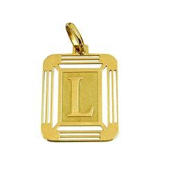 Medalha em Ouro 18K com Letra L - J14500444 - RDJ JÓIAS