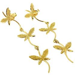 Brinco Três Borboletas em Ouro 18K - J10800394 - RDJ JÓIAS