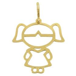 Pingente Menina em Ouro 18K G - J03100879 - RDJ JÓIAS