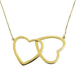 Gargantilha Coração Duplo em Ouro 18K - J02100342 - RDJ JÓIAS