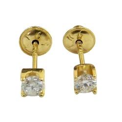 Brinco Solitário em Ouro 18K com Diamantes - J028... - RDJ JÓIAS