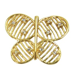Pingente Borboleta de Ouro 18K cravejado com Zircô... - RDJ JÓIAS
