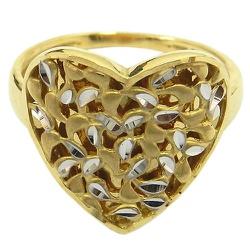 Anel de Coração Diamantado em Ouro Branco e Amarel... - RDJ JÓIAS