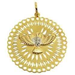 Medalha Religiosa de Ouro 18K Pomba do Espírito Sa... - RDJ JÓIAS