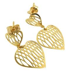Brinco de Coração Vazado em Ouro 18K - J10801723 - RDJ JÓIAS