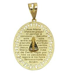 Medalha Oração Ave Maria de Ouro 18K com Nossa Sra... - RDJ JÓIAS