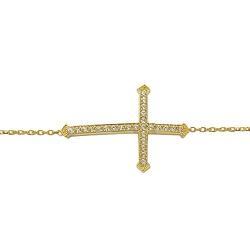 Pulseira de Cruz em Ouro 18K com Zircônia - J12200... - RDJ JÓIAS