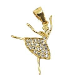 Pingente Bailarina em Ouro 18K com Zircônia - J122... - RDJ JÓIAS