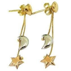 Brinco de Coração, Lua e Estrela em Ouro 18K - J1... - RDJ JÓIAS