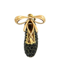 Pingente Sapatilha de bailarina em Ouro cravejado ... - RDJ JÓIAS