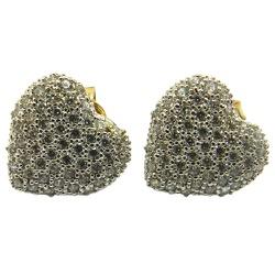 Brincos de coração modelo pavê em Ouro 18K com zir... - RDJ JÓIAS
