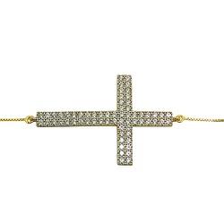 Pulseira de Cruz em Ouro 18k cravejada com Zircôni... - RDJ JÓIAS