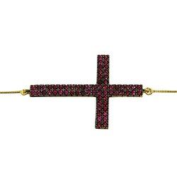 Pulseira Feminina de Cruz em Ouro 18K com Zircônia... - RDJ JÓIAS