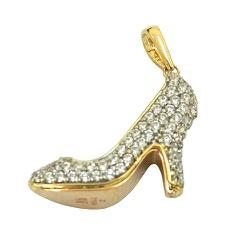 Pingente de Sapato Alto em Ouro 18K cravejado com ... - RDJ JÓIAS