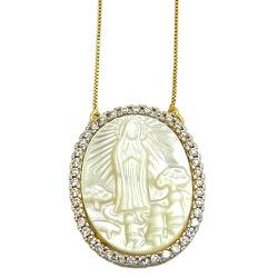Gargantilha Nossa Senhora de Fátima em Ouro 18k e ... - RDJ JÓIAS