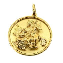 Medalha de São Jorge em Alto relevo Ouro 18K - J12... - RDJ JÓIAS
