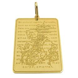 Medalha com Oração de São Jorge em Ouro 18K - J145... - RDJ JÓIAS