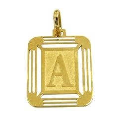 Medalha com Letra A de Ouro 18K - J14500444 - RDJ JÓIAS