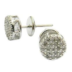 Brinco Feminino de Ouro 18K Pavê de 38 Diamantes P... - RDJ JÓIAS