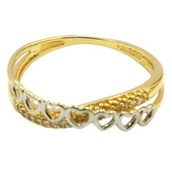 Anel Dois Aros em Ouro 18K com 16 Diamantes - J151... - RDJ JÓIAS