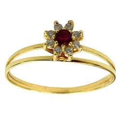 Anel em Ouro 18K com 8 Diamantes e 1 Rubi Preço Ba... - RDJ JÓIAS