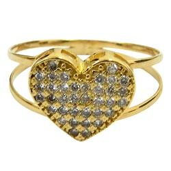 Anéis de Coração em Ouro 18K 0750 cravejados com Z... - RDJ JÓIAS