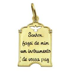 Pingente Oração de São Francisco em Ouro 18K com B... - RDJ JÓIAS