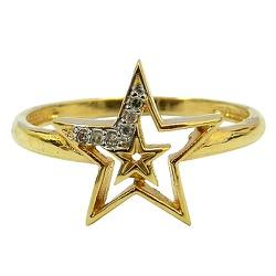 Lindo Anel de Estrela em Ouro 18K com 6 Brilhantes... - RDJ JÓIAS