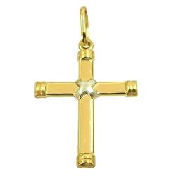 Pingente Crucifixo de Ouro Branco e Ouro Amarelo 1... - RDJ JÓIAS