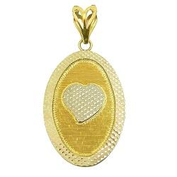 Medalha de Coração Diamantada em Ouro Branco e Ama... - RDJ JÓIAS