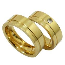 Alianças de Casamento em Ouro 18k com Brilhante - ... - RDJ JÓIAS