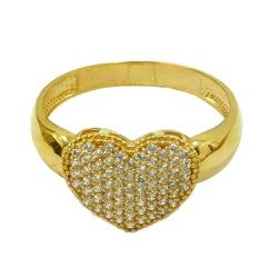 Anel Coração de Zircônias em Ouro - J03002036 - RDJ JÓIAS