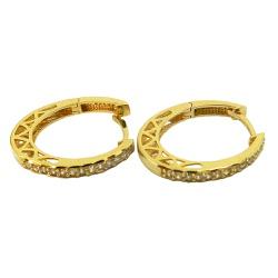 Argola Click em Ouro com Zircônias - J03002402 - RDJ JÓIAS