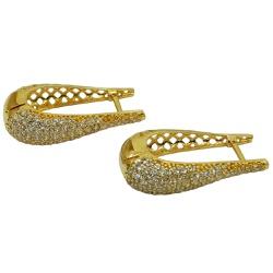 Argola de Ouro Vazada com Zircônias - J03002448 - RDJ JÓIAS
