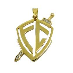 Pingente de Ouro Escudo Fé com Brilhantes - J03301... - RDJ JÓIAS