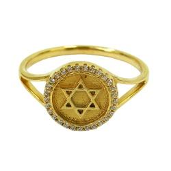 Anel em Ouro 18k Estrela de Davi com Zircônias - ... - RDJ JÓIAS