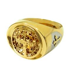 Anel em Ouro 18k Oração de São Bento - J10802122 - RDJ JÓIAS