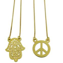 Escapulário de Ouro 18k Paz e Amor - J14700039 - RDJ JÓIAS