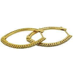 Argola em Ouro 18k Grande com Brilhantes - JBR0001... - RDJ JÓIAS