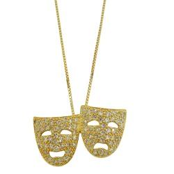 Gargantilha em Ouro 18k Mascaras de Teatro com Bri... - RDJ JÓIAS