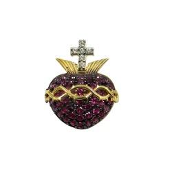 Pingente em Ouro Sagrado Coração de Jesus com Zirc... - RDJ JÓIAS