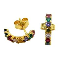 Brinco em Ouro com Zircônias Coloridas - J12702634 - RDJ JÓIAS