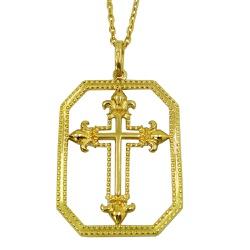 Pingente de Ouro 18k Cruz Vazado - J06202121 - RDJ JÓIAS