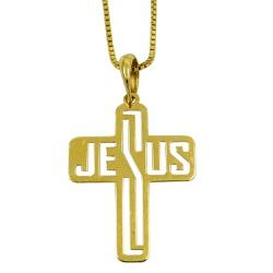 Crucifixo de Ouro 18k Vazado Jesus - J14000037 - RDJ JÓIAS
