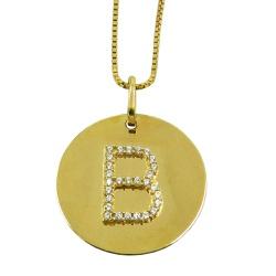Pingente de Ouro Letra com Zircônias - J18401077 - RDJ JÓIAS