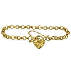 Pulseira Coração em Ouro Elo Português - J0300242... - RDJ JÓIAS