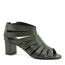 Sandália Open Boot Tiras Couro Verde