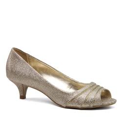Peep toe Baixo Festa Glitter Dourado - REGINARIOS